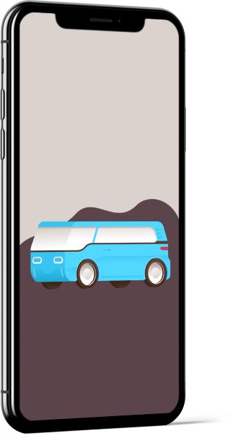 Blue Van by Miguel Camacho Wallpaper
