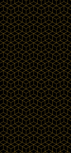 Geometric Cubes in Black & Gold Wallpaper