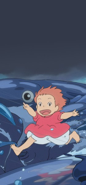 Ponyo Running on Water and Fish Wallpaper