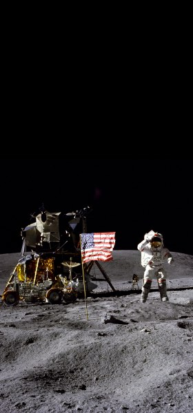 John Young on the Moon Wallpaper